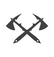 two crossed battle axes with shartp spikes vector image vector image
