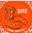 Western New Year with cowboy boots and western hat vector image