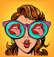 woman with sunglasses sexy mouth and tongue stick vector image