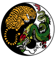 Yin yang dragon and tiger symbol