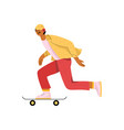 young man riding skateboard stylish male skater vector image vector image
