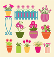 Set of pot plants garden flowers and herbs vector image