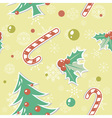 Seamless pattern with cute cartoon Christmas tree vector image