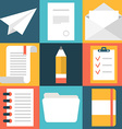 Set of flat design document icons Paper document vector image
