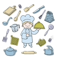 Kitchener tools color icons set vector image