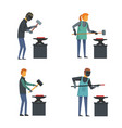 anvil blacksmith forge icons set flat style vector image