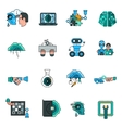 Artificial Intelligence Line Icons Set vector image vector image