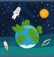 astronaut planets and stars rocket ship in space vector image vector image