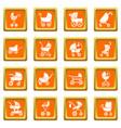 baby carriage icons set orange square vector image
