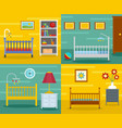 baby crib cradle banner concept set flat style vector image vector image