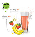 banana strawberry mix cocktail of fresh juice hand vector image