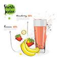 banana strawberry mix cocktail of fresh juice hand
