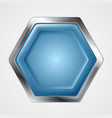 Blue and metallic hexagon shape logo vector image vector image