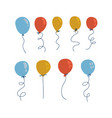 blue yellow and red balloons in cartoon flat flat vector image
