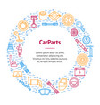car parts thin line banner card circle vector image