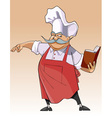 cartoon chef stands and looks in the book vector image vector image