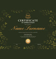 certificate template with dark green floral leaf vector image vector image