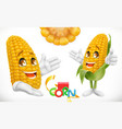corn cartoon character food for kids 3d icon vector image