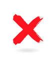 cross sign element red grunge x icon isolated on vector image