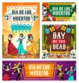 day dead dancing skeletons and sugar skulls vector image vector image