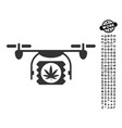 drugs drone shipment icon with people bonus vector image vector image