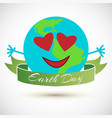 earth globe with heart icons vector image