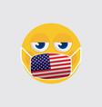 emoji medical mask shaped like an usa flag vector image vector image