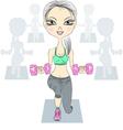 fashion fitness girls lifting dumbbells vector image
