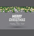 fir branch with neon lights and snowflakes on vector image vector image