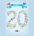 floral number twenty with ribbon and birds vector image vector image