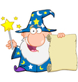 Funny Wizard Holding Up A Scroll vector image vector image
