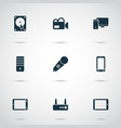 gadget icons set with palmtop phone video camera vector image vector image