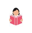girl reading book icon design template vector image