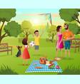 happy family picnic in city park cartoon vector image