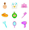 lovely girl icons set cartoon style vector image