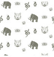mammoth seamless pattern with tiger and snake vector image