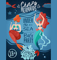 mermaids party poster vector image vector image