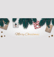 merry christmas background with gifts vector image vector image