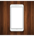 modern smartphone on wooden background vector image vector image
