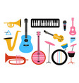 musical icon collection isolated set with drums vector image