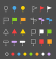 Navigation pins flat design collection vector image vector image