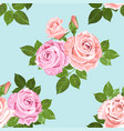 pale pink and beige roses on the blue seamless vector image