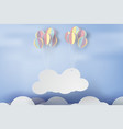 paper art of signboard cloud on sky with colorful vector image vector image