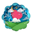 rat rabbit cartoon characters paper landscape vector image vector image