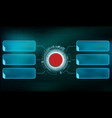 red futuristic switch button with frame vector image vector image