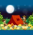 scene background design with kids camping out at vector image vector image