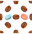 seamless pattern with colorful macaroon on white vector image vector image