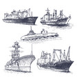 set cargo ship reefers lighthouse vector image vector image