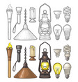 set lighting object torch candle flashlight vector image vector image