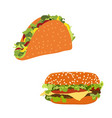 set of fast food burger hamburger or cheeseburger vector image